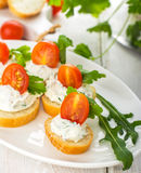 Canapes with cheese and venetables Royalty Free Stock Image