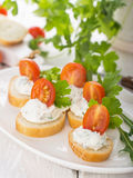 Canapes with cheese and venetables Stock Images