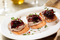 Canapes with chicken liver pate Stock Photography