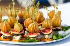 Canapes com physalis, figo, queijo e biscoitos Imagens de Stock