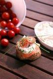 Canapes com salmões e queijo Fotos de Stock Royalty Free