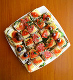 Canapes, comida de abastecimiento Fotografía de archivo libre de regalías
