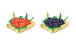 Canapes con el caviar negro y rojo Fotografía de archivo