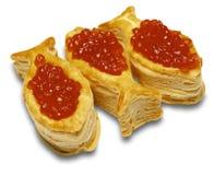 Canapes con el caviar rojo Foto de archivo libre de regalías