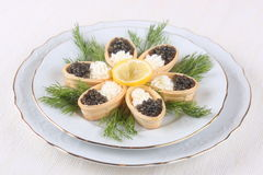 Canapes with cream cheese and caviar Royalty Free Stock Image