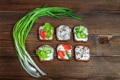 Canapes with cucumber, radish and tomato. Green onion. Top view. The concept of food and vegetarianism Stock Photos