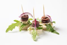Canapes d'anchois images libres de droits
