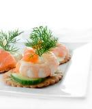 Canapes da salada do marisco Imagem de Stock Royalty Free