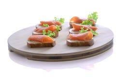 Canapes de color salmón Foto de archivo libre de regalías
