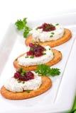 Canapes de fromage de chèvre photo libre de droits