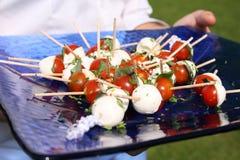 Canapes de la albahaca y del tomate Imagen de archivo libre de regalías