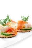 Canapes de la ensalada de los mariscos Imagen de archivo