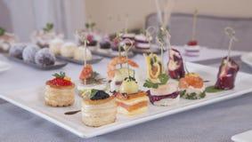Canapes de los aperitivos Imagen de archivo libre de regalías