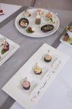 Canapes de los aperitivos Fotos de archivo libres de regalías