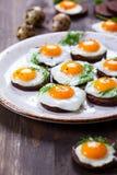 Canapes del huevo de codornices Foto de archivo