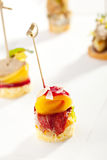 Canapes. Delicious Meat Canapes over White Stock Images