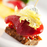 Canapes. Delicious Meat and Vegetables Canapes Stock Image