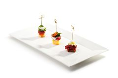 Canapes. Delicious Meat and Vegetables Canapes Royalty Free Stock Images