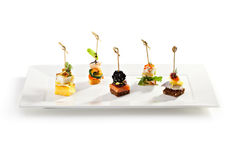 Canapes. Delicious Seafood and Vegetables Canapes Stock Image