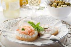 Canapes do camarão fotografia de stock royalty free