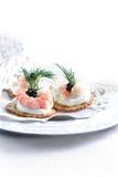 Canapes do camarão Imagem de Stock Royalty Free
