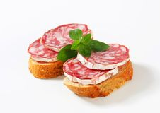 Canapes do salame Imagem de Stock Royalty Free