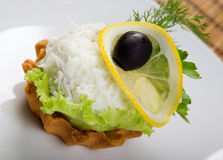 Canapes with  egg  and salad Stock Images