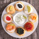 Canapes, finger food Stock Photos