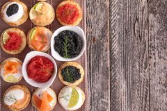 Canapes, finger food Royalty Free Stock Images