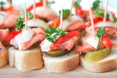 Canapes with fish Royalty Free Stock Photos
