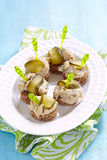 Canapes with fish pate and pickle Royalty Free Stock Photos