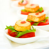 Canapes with fresh tuna, vegetable on the spoon. Canapes with fresh tuna and vegetable on the spoon stock photography