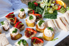 Canapes & fruit Royalty Free Stock Images