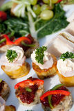 Canapes & fruit Royalty Free Stock Photos