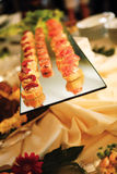 Canapes on glass. Canapes on a tray in a restaurant stock photography