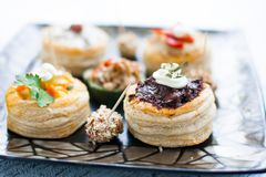 Canapes gourmet food VARIETY royalty free stock photo