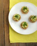 Canapes with green peas salad Stock Photo