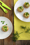 Canapes with green peas salad Royalty Free Stock Image