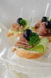 Canapes with ham Stock Images