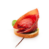 Canapes. Jamon Canapes with Pesto Sauce Stock Images