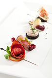 Canapes. Meat Canapes on White Dish Royalty Free Stock Image