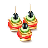 Canapes with olives  on white vector Stock Image