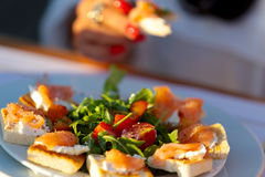 Canapes on plate. Close up on plate of canapes on tabletop Royalty Free Stock Photography