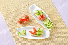 Canapes on plate. Top view Stock Photo