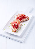 Canapes with Prosciutto Crudo and Soft Cheese Royalty Free Stock Photos