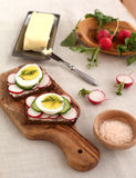 Canapes with radish and eggs Royalty Free Stock Photos