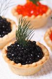 Canapes with red and black fish caviar vertical Royalty Free Stock Photography
