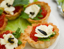 Canapes with red caviar Royalty Free Stock Photo
