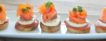 Canapes with red fish Royalty Free Stock Photography