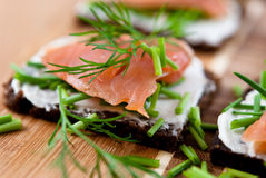Canapes with salmon stock photography
